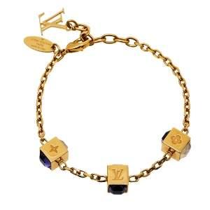 Louis Vuitton Crystal Gold Tone Gamble Bracelet
