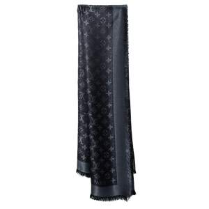 Louis Vuitton Black Lurex Wool & Silk Monogram Shine Square Shawl