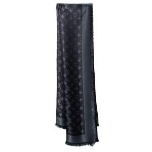 Louis Vuitton Black Lurex Wool & Silk Monogram Shine Square Shawl