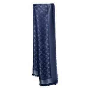 Louis Vuitton Navy Blue Lurex Wool & Silk Monogram Shine Square Shawl