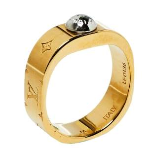 Louis Vuitton Two Tone Nanogram Ring M