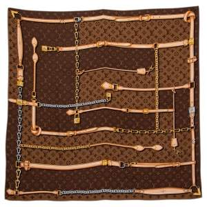 Louis Vuitton Brown Monogram Confidential Silk Scarf