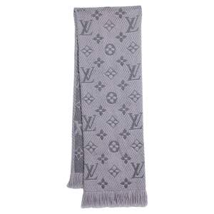 Louis Vuitton Pearl Grey Logomania Wool & Silk Scarf