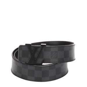 Louis Vuitton Black/Grey Damier Graphite Initiales Belt