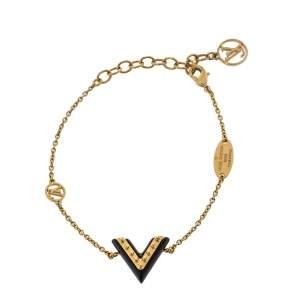 Louis Vuitton Black Lacquer Studded Essential V Chain Link Bracelet