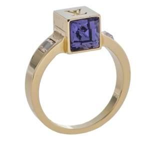 Louis Vuitton Gamble Crystal Gold Tone Ring L
