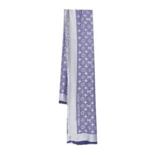 Louis Vuitton Purple Monogram Silk & Wool Denim Shawl