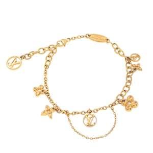 Louis Vuitton Blooming Supple Gold Tone Charm Bracelet