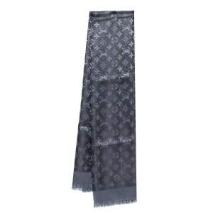 Louis Vuitton Black Monogram Silk & Wool Shine Shawl