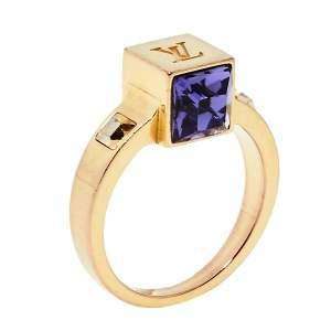خاتم لوي فيتون غامبل مزين كريستال ذهبي اللون مقاس وسط (ميديوم)