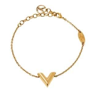 Louis Vuitton Gold Tone Essential V Chain Link Bracelet