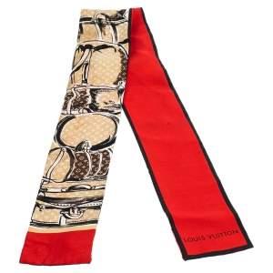 وشاح باندانة لوي فيتون حرير مطبوع ترانكز وشعار الماركة مونوغرامي متعدد الألوان