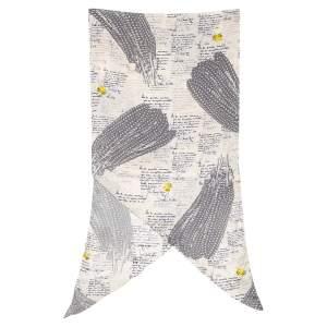Louis Vuitton Cream Feather Printed Angular Silk Scarf