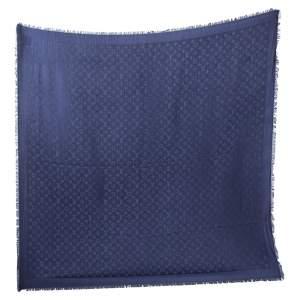 Louis Vuitton Navy Blue Logo Monogram Silk & Woof Square Shawl