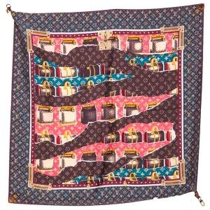 Louis Vuitton Multicolor Voyages Keepall Printed Closure Detail Silk Scarf