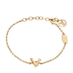 Louis Vuitton LV & Me Letter A Gold Tone Metal Bracelet