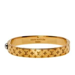 Louis Vuitton Nanogram Gold Tone Cuff Bracelet S