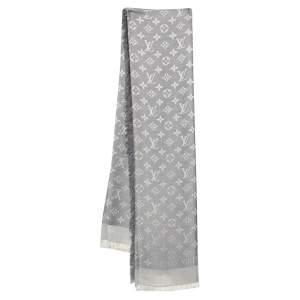 Louis Vuitton Pearl Grey Monogram Silk & Wool Denim Shawl