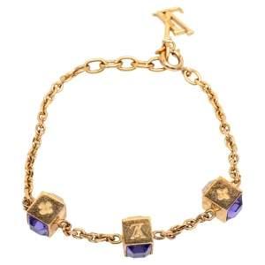 Louis Vuitton Gold Tone Crystal Gamble Bracelet