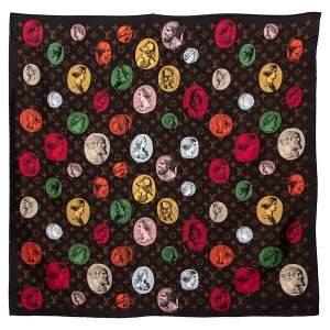 Louis Vuitton X Fornasetti Brown Silk Cameo Square Scarf