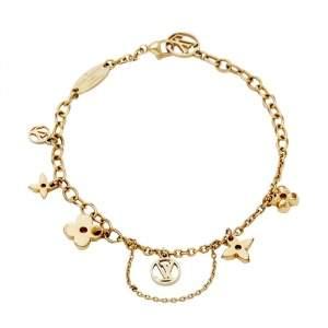 Louis Vuitton Gold Tone Blooming Supple Charm Bracelet