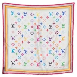 Louis Vuitton x Takashi Murakami White Monogram Print Silk Square Scarf