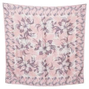 Louis Vuitton Pink & Grey Monokinawa Printed Silk Square Scarf