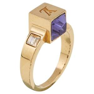 Louis Vuitton Gold Tone Crystal Gamble Ring Size EU 53