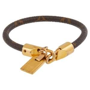 Louis Vuitton Gold Tone Monogram Canvas Luck It Bracelet