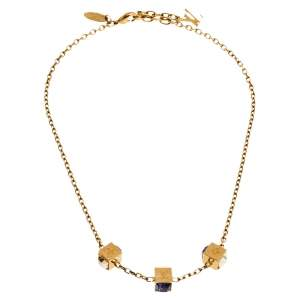 Louis Vuitton Gamble Crystal Gold Tone Necklace