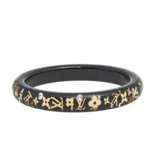 Louis Vuitton Black Clear Resin Gold Tone Monogram Inclusion Bangle