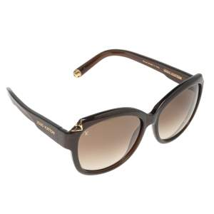 Louis Vuitton Brown Glitter Acetate Hortensia Z0486W Gradient Oversized Sunglasses