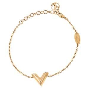 Louis Vuitton Essential V Gold Tone Chain Link Bracelet