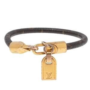 Louis Vuitton Brown Monogram Leather Luck It Gold Tone Bracelet