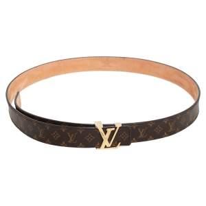 Louis Vuitton Monogram Mini Canvas LV Initiales Slim Buckle Belt 85CM
