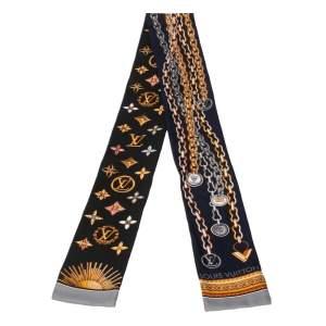 Louis Vuitton Navy Blue/Black Chain Print Silk Bandeau Scarf