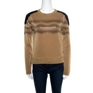 Louis Vuitton Brown Lurex Knit Contrast Suede Shoulder Patch Detail Cropped Sweater XS