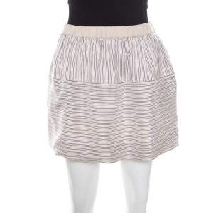 Louis Vuitton Beige Striped Silk Logo Elasticized Waist Mini Skirt M