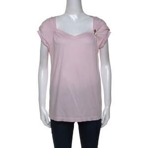 Louis Vuitton Pink Cotton Brooch Detail Top XL