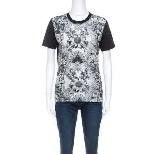 Louis Vuitton Black Printed Silk Crew Neck T-Shirt S