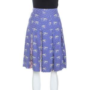Louis Vuitton Purple Printed Polka Dot Silk Pleated Skirt M
