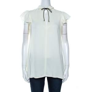 Louis Vuitton Off White Crepe Keyhole Neck Tie Detail Top M