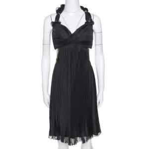 Louis Vuitton Black Silk Blend Pleated Chain Detail Halter Dress M