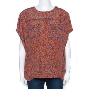 Louis Vuitton Orange & Blue Leopard Print Silk Oversized Blouse M
