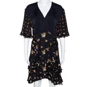 Louis Vuitton Black Floral Print Crepe Ruffled Dress M