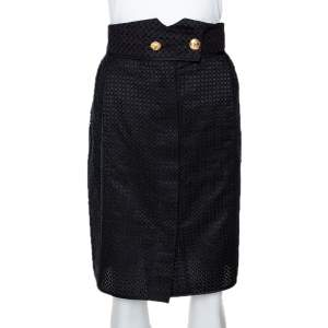 Louis Vuitton Black Cotton & Silk Lace Paneled Fitted Skirt S