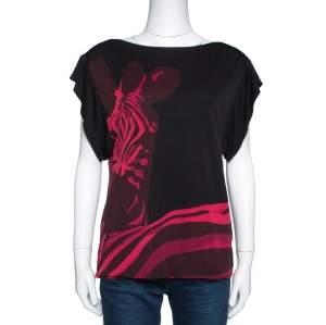 Louis Vuitton Black & Pink Printed Jersey Short Sleeve Top M