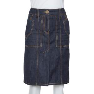 Louis Vuitton Dark Blue Denim Pleat Detail Skirt S
