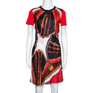 Louis Vuitton Black & Red Chain Link Print Silk Crew Neck Dress XS
