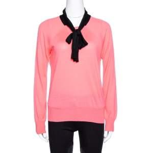 Louis Vuitton Pink Wool & Silk Knit Contrast Trim Jumper M